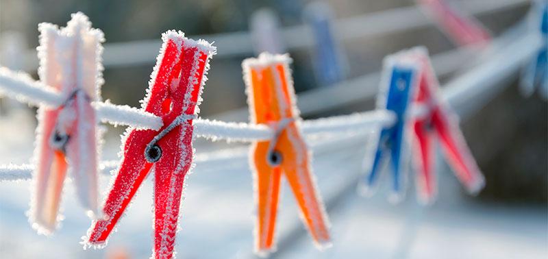 Secar ropa en invierno es un desafío